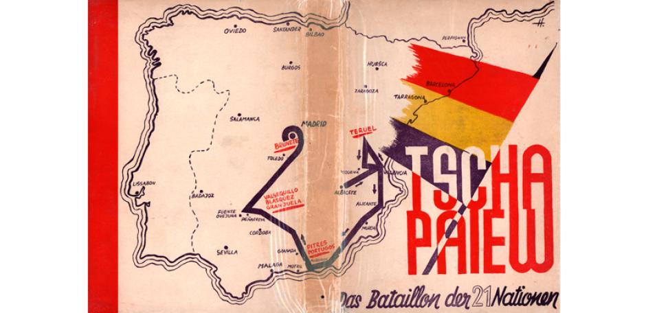 Alfred Kantorowicz, Tschapaiew. Das Bataillon der 21 Nationen. Madrid, Imprenta Colectiva Torrent Umschlag über Vorder und Rückseite
